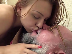 Blonde passionate cum licking with young best friend after fucking their old sugar man