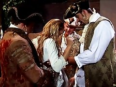 Pirates gangbang a slutty wench and DP her tight holes