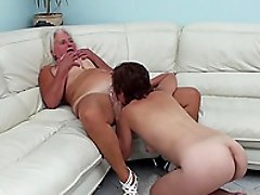 Stunning brunette wants to play with her elderly blonde friend