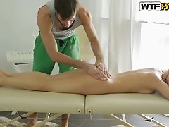 Lucky horn-mad masseur pleases stunning oiled and svelte light haired chick