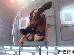 anal toying babe squirts dildo fucking