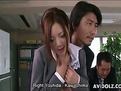 Submissive secretary Iroha Kawashima pleases cocks in the office