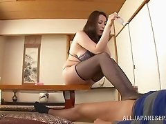 Icy hot mature Asian babe in nylon stockings with big tits getting hammered hardcore