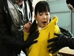 Cute Asian teen is put into her super hero outfit and grabs
