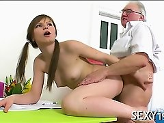 Chick is charming teacher's dick with zealous blowjob