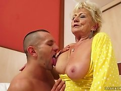 Blonde granny Malya sucks a hard dick and enjoys riding it