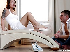 After a foot fetish adorable girl Mia Ferrari gets her pussy pounded by a friend