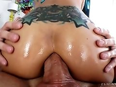 Tattooed raven haired Asian slut Saya Song takes sloppy cock in her anus