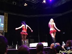 extreme hot threesome reality sex show on public sex fair show stage