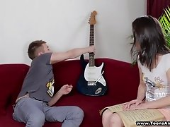 Lovely brunette babe Ashley gets fucked in a hot blowjob and bang action