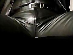 Smoking in full leather fetish gear