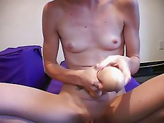 Skinny girl uses fingers and toys to maturbate