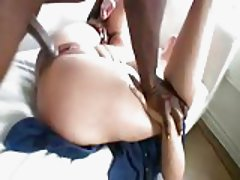 Thick butt blonde taking black cock cumshot